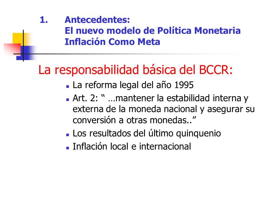 La responsabilidad básica del BCCR: