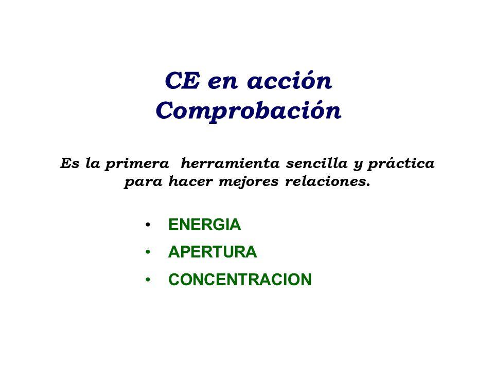 CE en acción Comprobación Es la primera herramienta sencilla y práctica para hacer mejores relaciones.