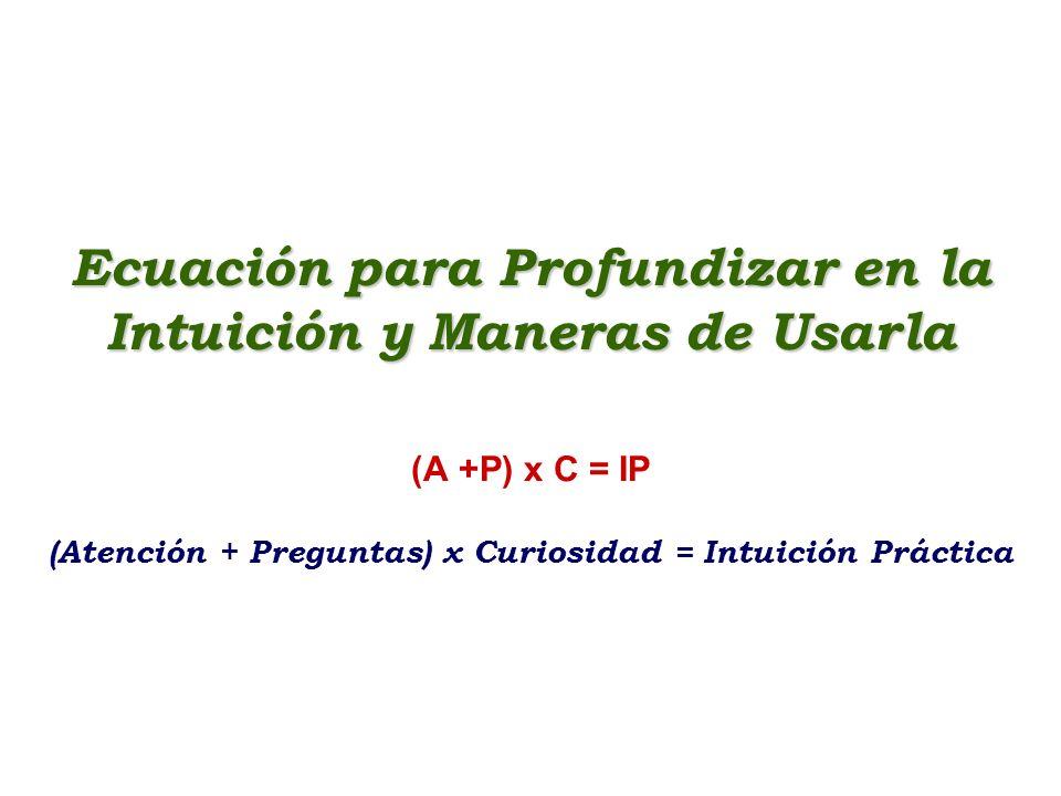 Ecuación para Profundizar en la Intuición y Maneras de Usarla (A +P) x C = IP (Atención + Preguntas) x Curiosidad = Intuición Práctica