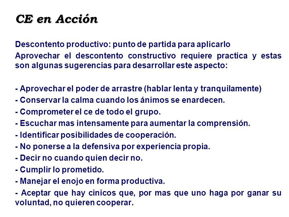 CE en Acción Descontento productivo: punto de partida para aplicarlo