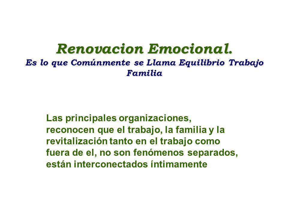 Renovacion Emocional. Es lo que Comúnmente se Llama Equilibrio Trabajo Familia