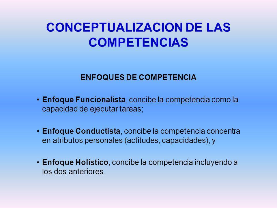 CONCEPTUALIZACION DE LAS COMPETENCIAS