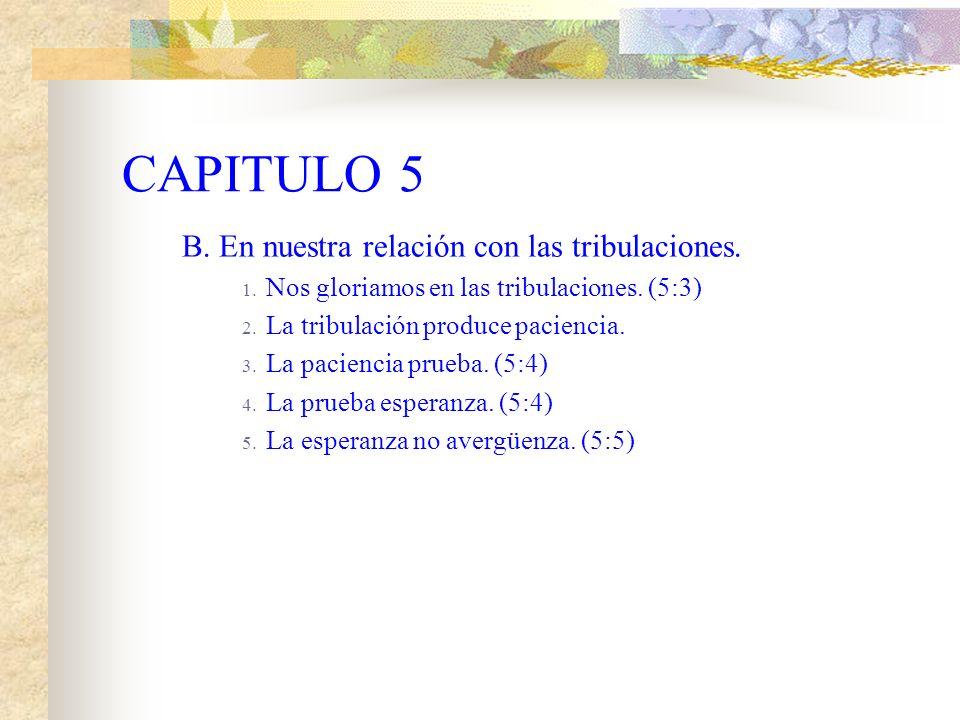 CAPITULO 5 B. En nuestra relación con las tribulaciones.