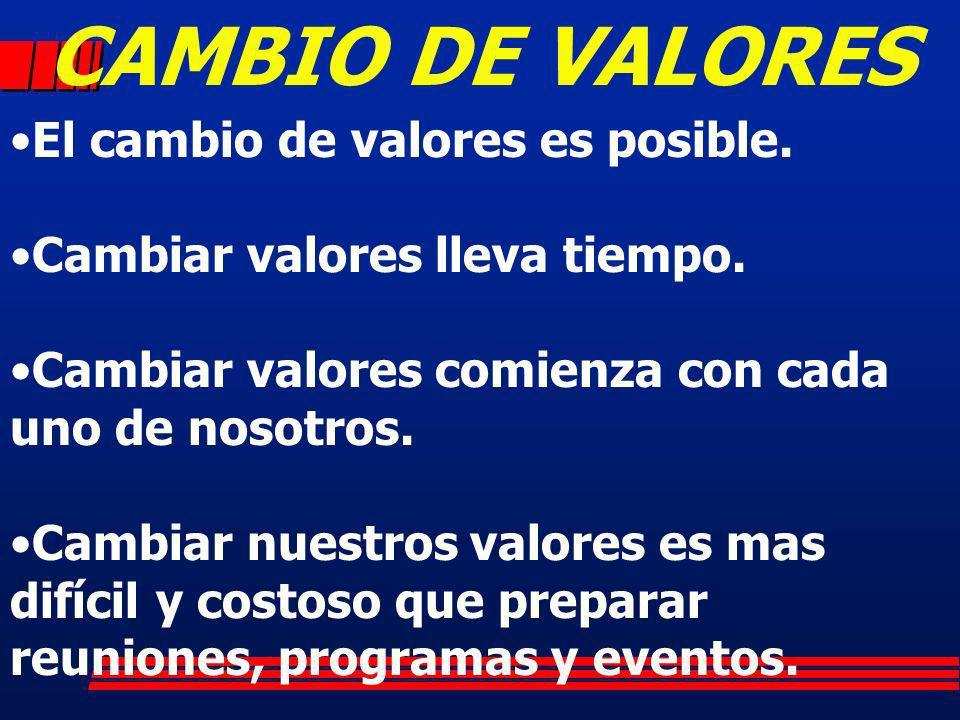 CAMBIO DE VALORES El cambio de valores es posible.