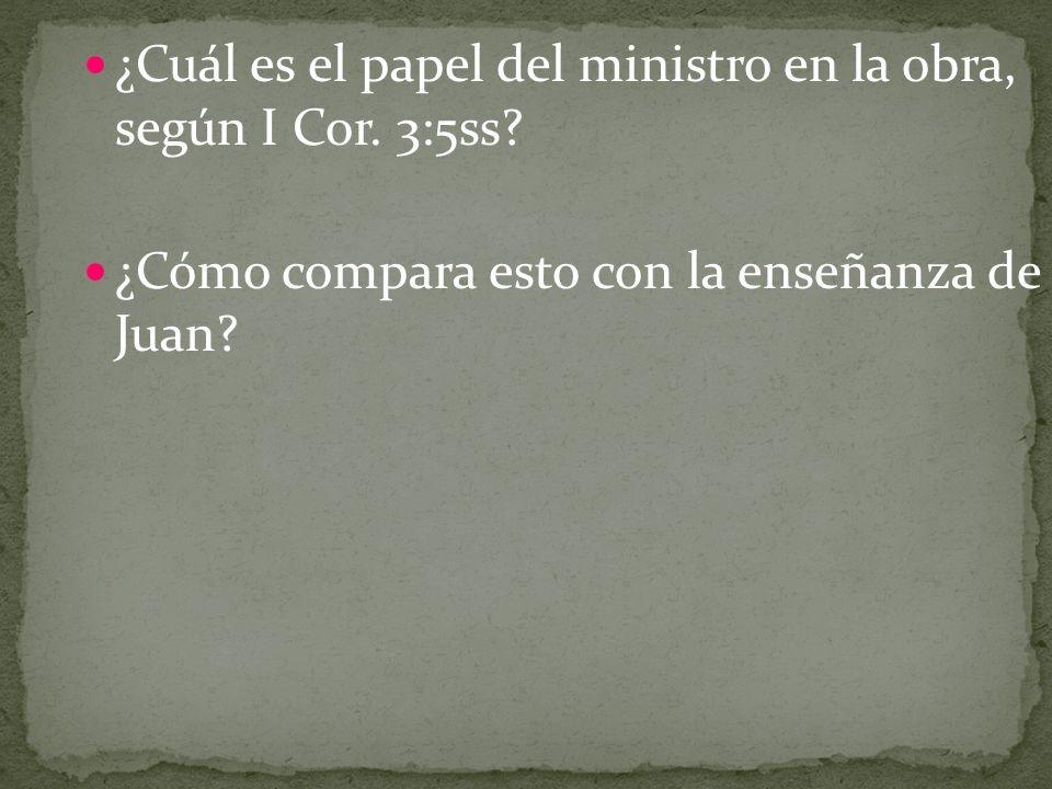 ¿Cuál es el papel del ministro en la obra, según I Cor. 3:5ss