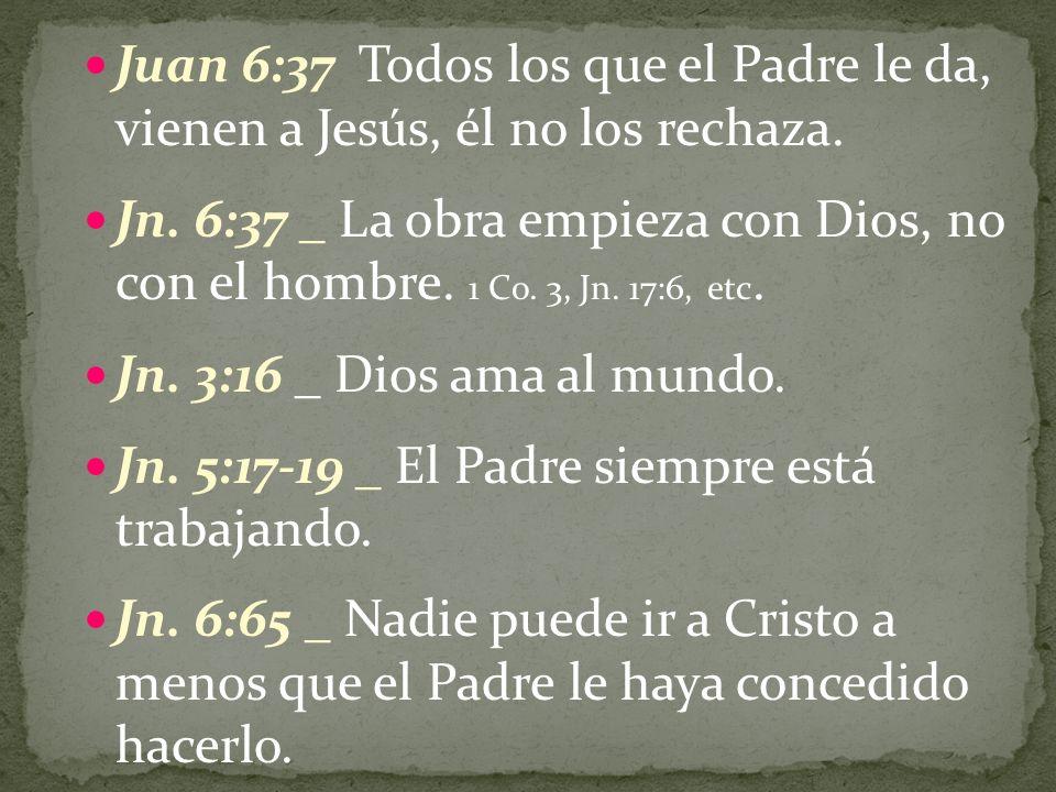 Juan 6:37 Todos los que el Padre le da, vienen a Jesús, él no los rechaza.