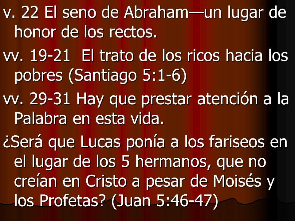 v. 22 El seno de Abraham—un lugar de honor de los rectos.