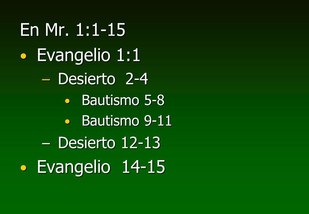 En Mr. 1:1-15 Evangelio 1:1 Evangelio 14-15 Desierto 2-4