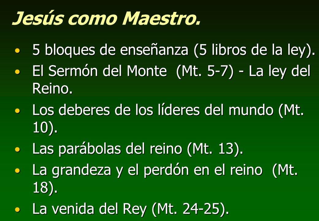 Jesús como Maestro. 5 bloques de enseñanza (5 libros de la ley).
