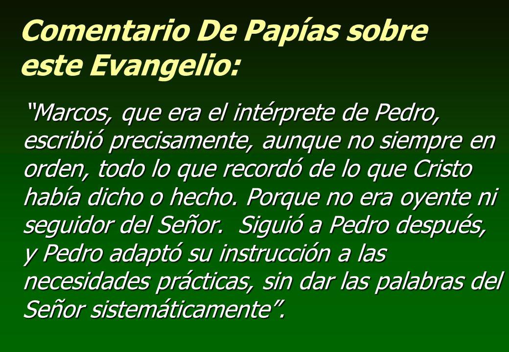 Comentario De Papías sobre este Evangelio: