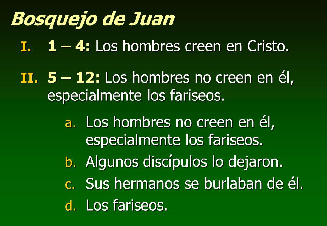 Bosquejo de Juan 1 – 4: Los hombres creen en Cristo.