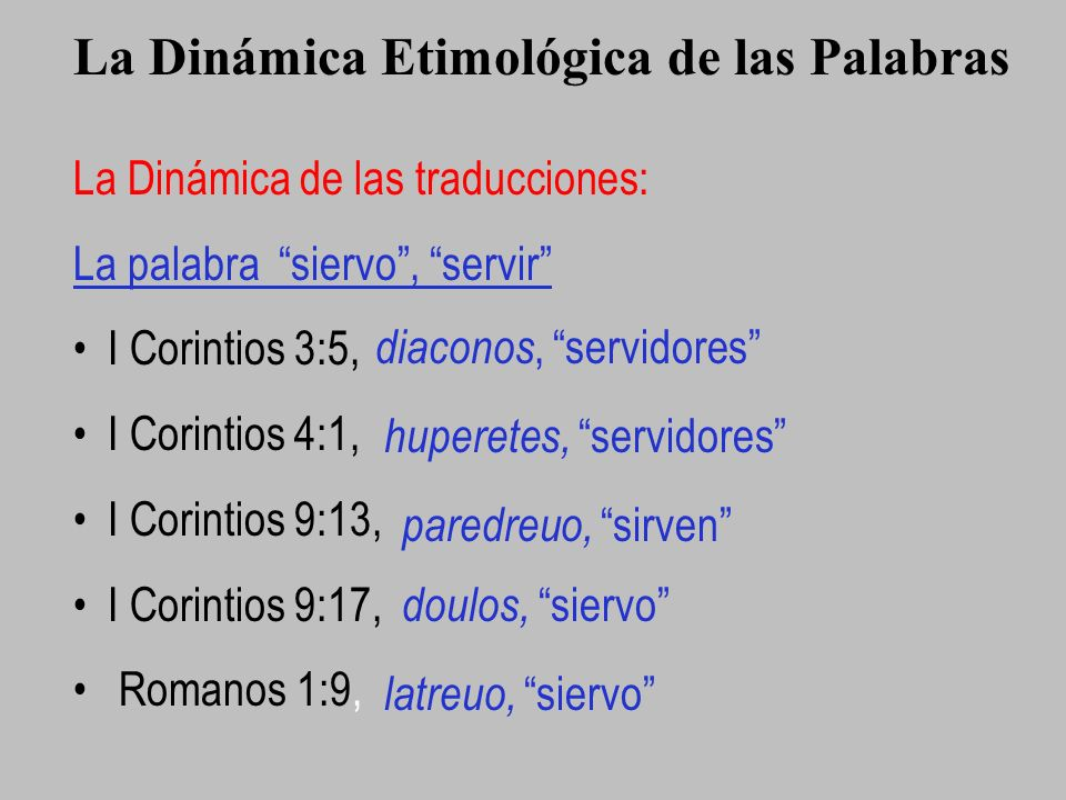 La Dinámica Etimológica de las Palabras