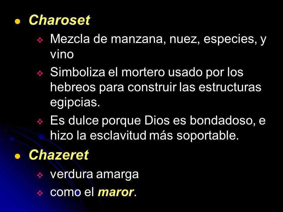 Charoset Chazeret Mezcla de manzana, nuez, especies, y vino