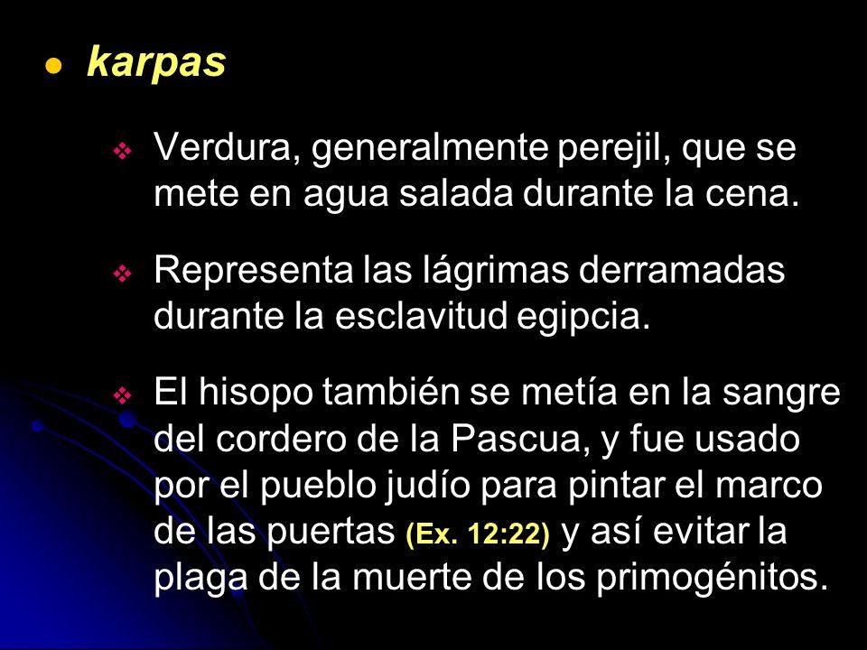 karpas Verdura, generalmente perejil, que se mete en agua salada durante la cena. Representa las lágrimas derramadas durante la esclavitud egipcia.