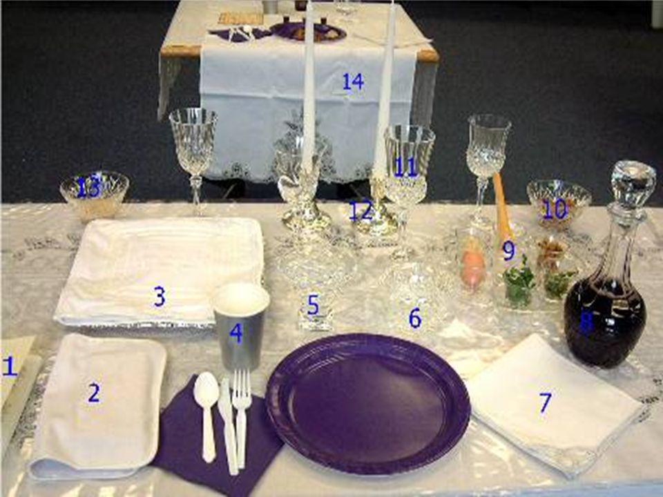 1) a leader s copy of the Seder Haggadah; 2) a special linen napkin with a pocket to hold the afikomen; 3) a linen bag with three compartments for the matzot, here placed on a special silver matzah plate; 4) a cup of drinking water; 5) a bowl of water for the ceremonial hand washing; 6) a bowl of salt water; 7) a napkin or towel; 8) carafe of wine or grape juice; 9) the Seder plate; 10) a bowl of charoset; 11) four glasses, one for each of the cups (a single glass can be used); here Elijah s cup is slightly larger; 12) two candlesticks with white candles; 13) a bowl of grated horseradish; 14) a table with a place setting for Elijah (optional).