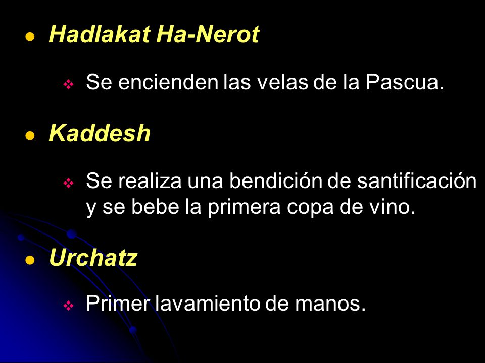 Hadlakat Ha-Nerot Kaddesh Urchatz Se encienden las velas de la Pascua.