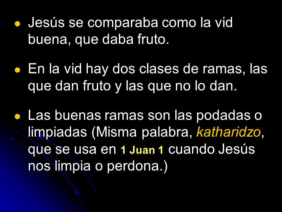 Jesús se comparaba como la vid buena, que daba fruto.