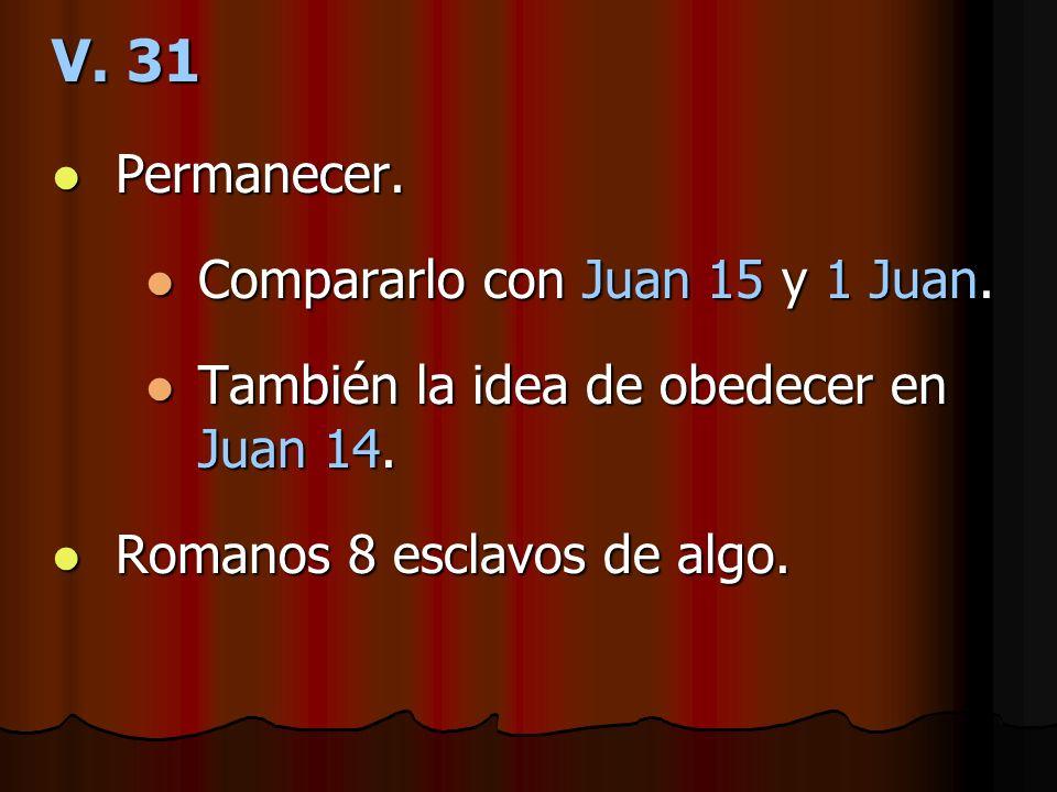 V. 31 Permanecer. Compararlo con Juan 15 y 1 Juan.