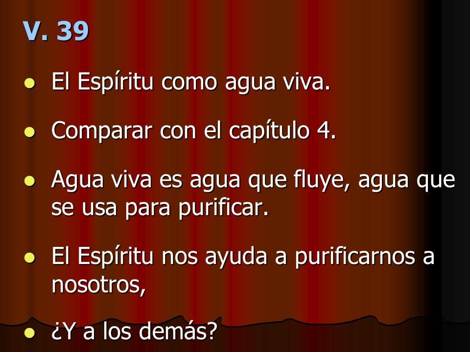 V. 39 El Espíritu como agua viva. Comparar con el capítulo 4.