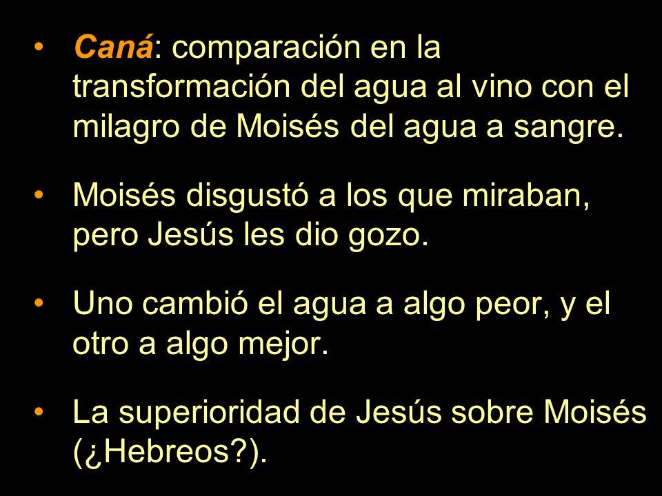 Caná: comparación en la transformación del agua al vino con el milagro de Moisés del agua a sangre.