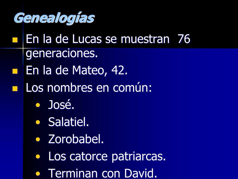 Genealogías En la de Lucas se muestran 76 generaciones.