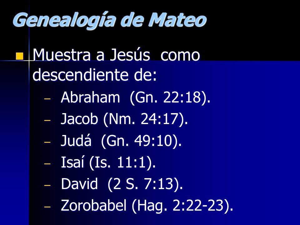 Genealogía de Mateo Muestra a Jesús como descendiente de: