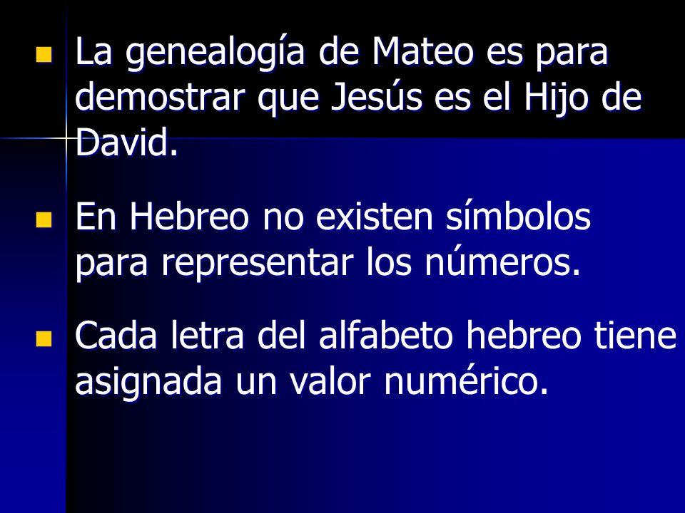 La genealogía de Mateo es para demostrar que Jesús es el Hijo de David.
