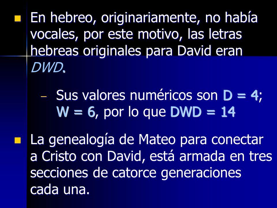 En hebreo, originariamente, no había vocales, por este motivo, las letras hebreas originales para David eran DWD.