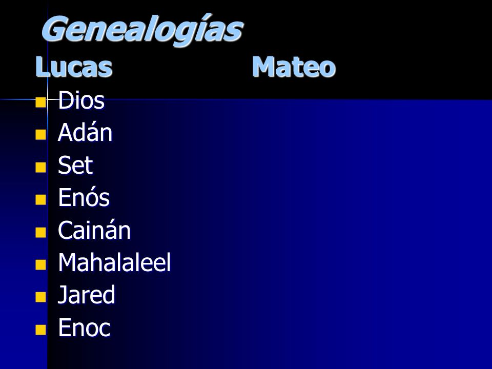 Genealogías Lucas Mateo Dios Adán Set Enós Cainán Mahalaleel Jared