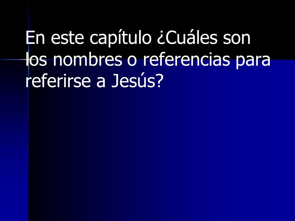 En este capítulo ¿Cuáles son los nombres o referencias para referirse a Jesús
