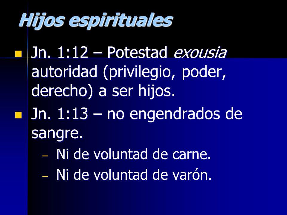 Hijos espirituales Jn. 1:12 – Potestad exousia autoridad (privilegio, poder, derecho) a ser hijos.
