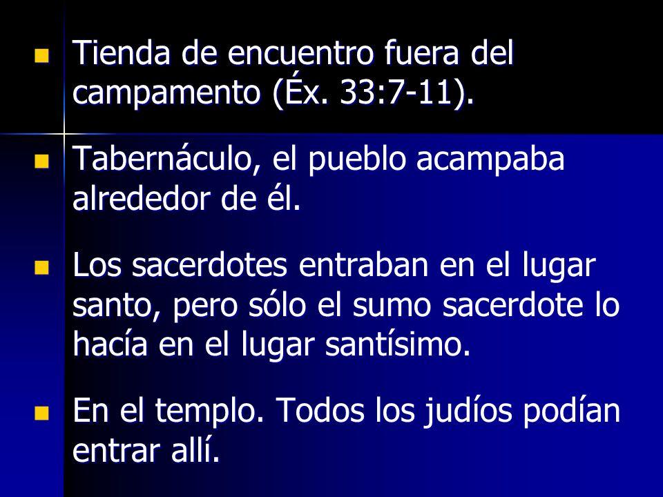 Tienda de encuentro fuera del campamento (Éx. 33:7-11).