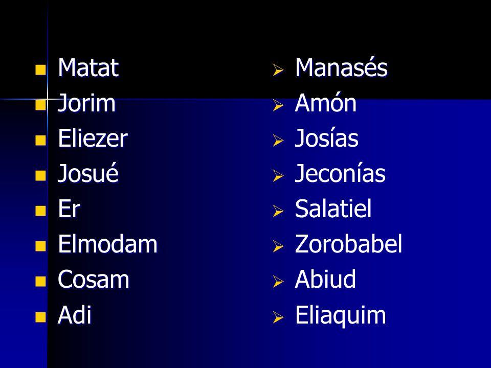 Matat Jorim. Eliezer. Josué. Er. Elmodam. Cosam. Adi. Manasés. Amón. Josías. Jeconías. Salatiel.