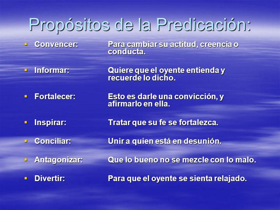 Propósitos de la Predicación: