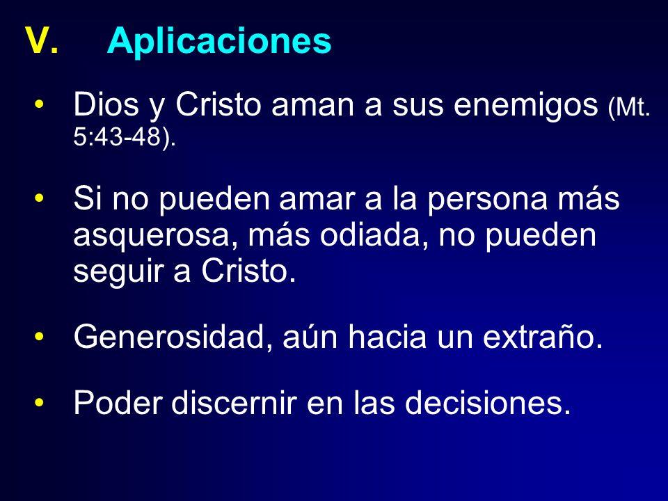 Aplicaciones Dios y Cristo aman a sus enemigos (Mt. 5:43-48).