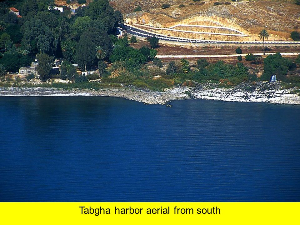 Tabgha harbor aerial from south