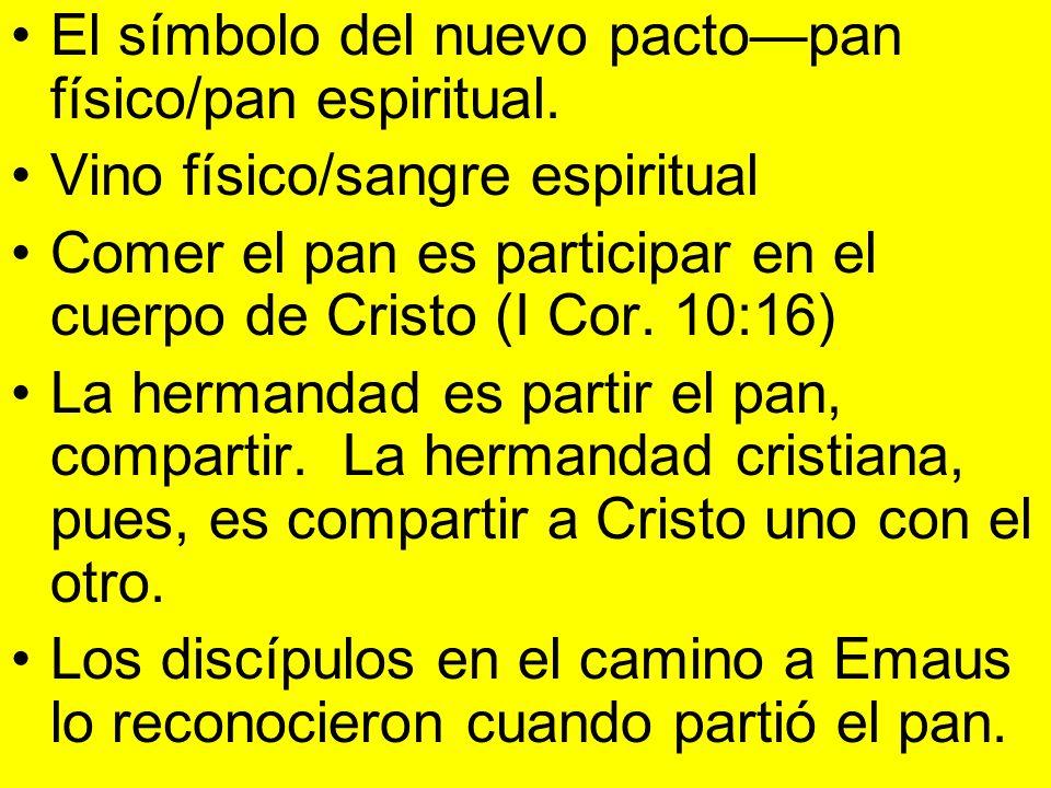 El símbolo del nuevo pacto—pan físico/pan espiritual.
