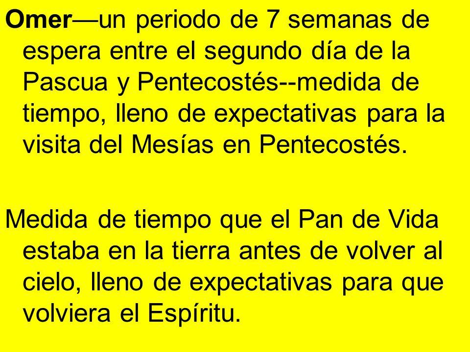 Omer—un periodo de 7 semanas de espera entre el segundo día de la Pascua y Pentecostés--medida de tiempo, lleno de expectativas para la visita del Mesías en Pentecostés.
