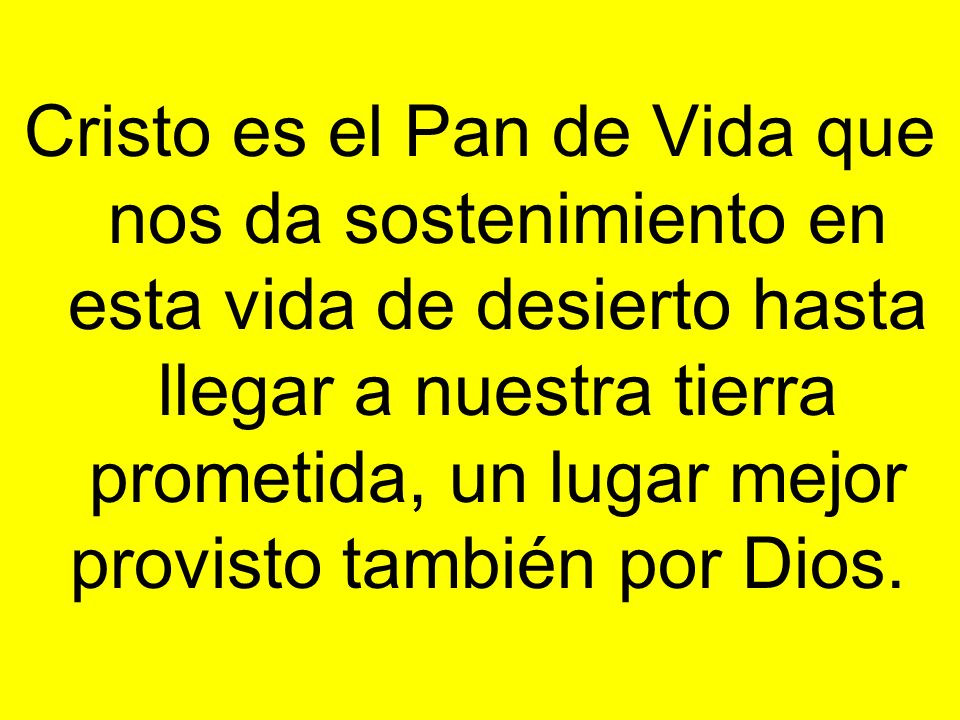 Cristo es el Pan de Vida que nos da sostenimiento en esta vida de desierto hasta llegar a nuestra tierra prometida, un lugar mejor provisto también por Dios.