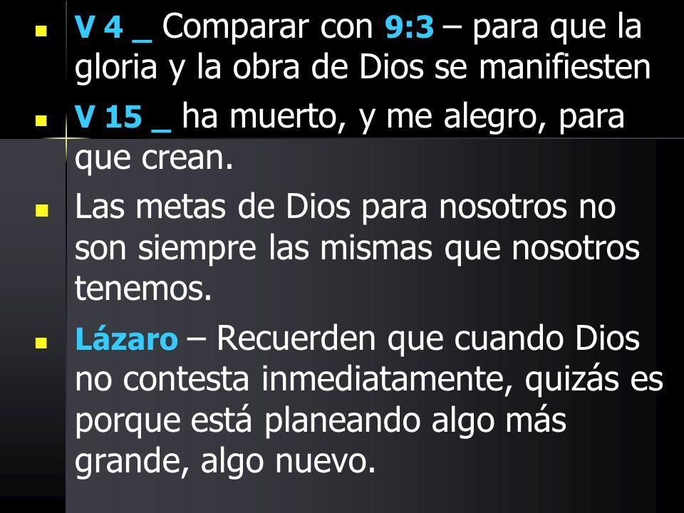 V 4 _ Comparar con 9:3 – para que la gloria y la obra de Dios se manifiesten