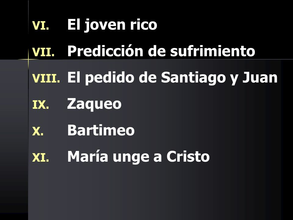El joven ricoPredicción de sufrimiento.El pedido de Santiago y Juan.
