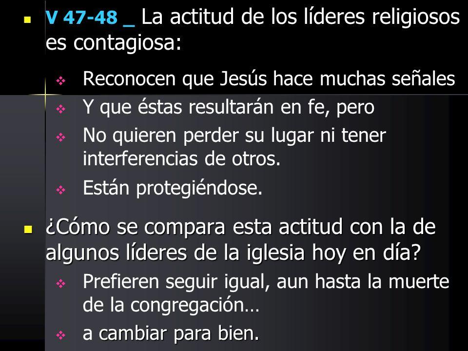 V 47-48 _ La actitud de los líderes religiosos es contagiosa: