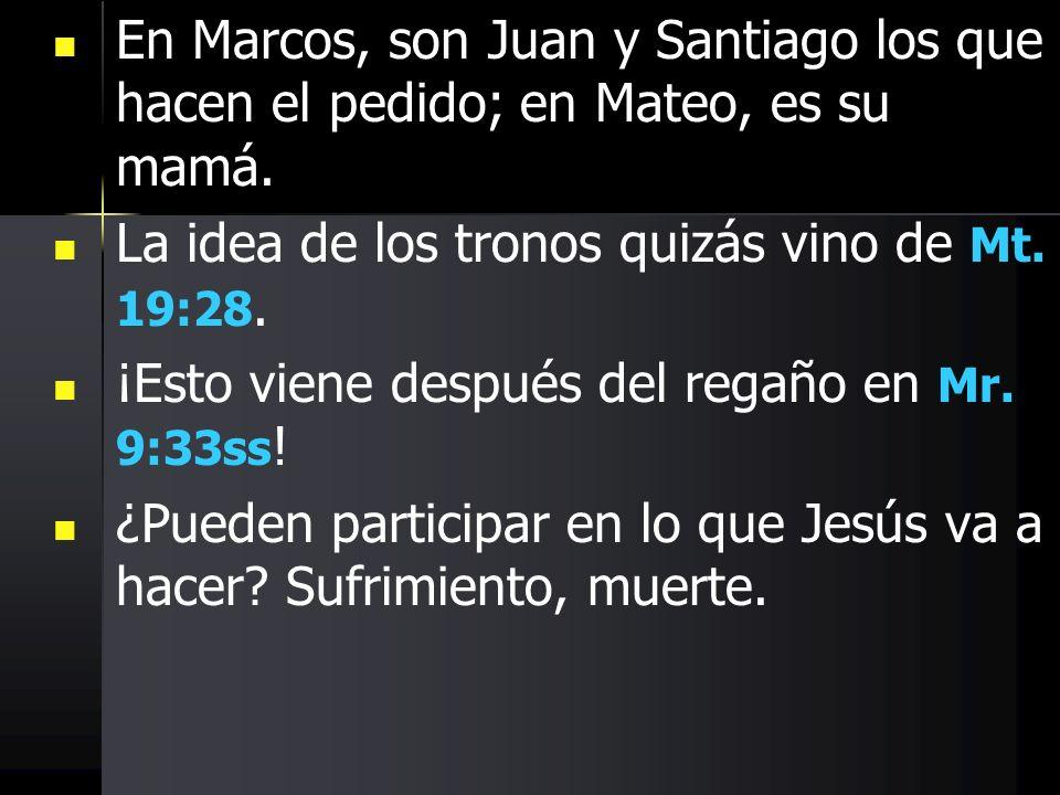 En Marcos, son Juan y Santiago los que hacen el pedido; en Mateo, es su mamá.