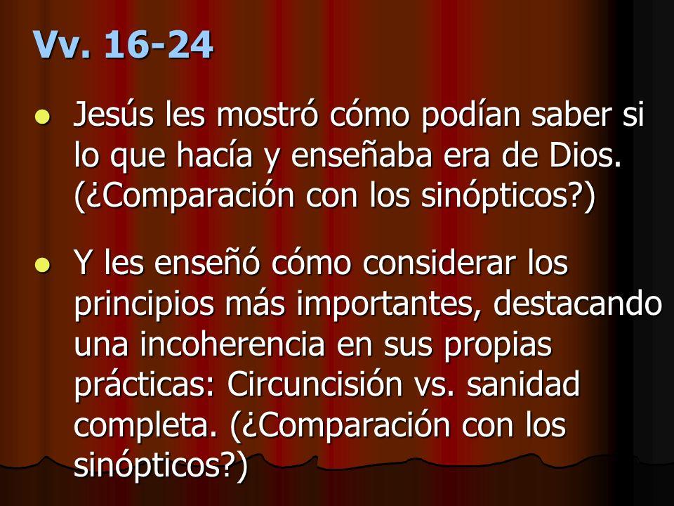 Vv. 16-24 Jesús les mostró cómo podían saber si lo que hacía y enseñaba era de Dios. (¿Comparación con los sinópticos )
