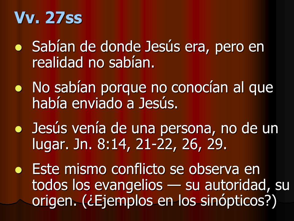 Vv. 27ss Sabían de donde Jesús era, pero en realidad no sabían.