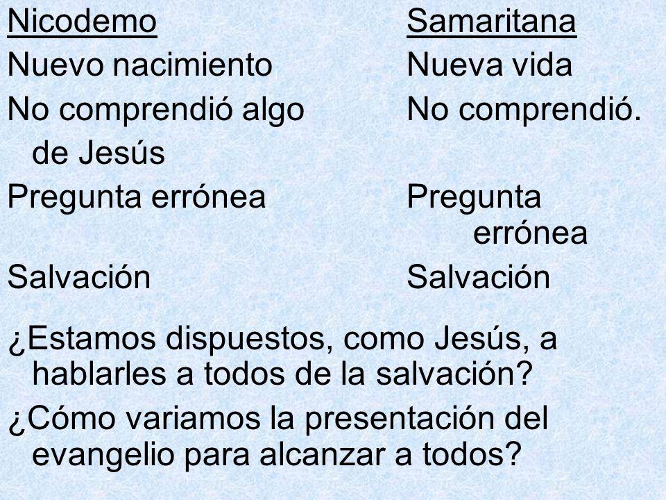 Nicodemo Samaritana Nuevo nacimiento Nueva vida. No comprendió algo No comprendió. de Jesús.