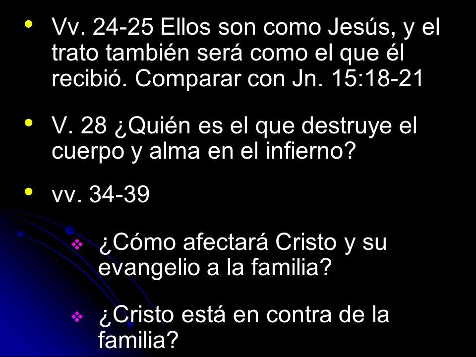Vv. 24-25 Ellos son como Jesús, y el trato también será como el que él recibió. Comparar con Jn. 15:18-21