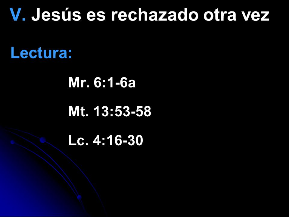 V. Jesús es rechazado otra vez