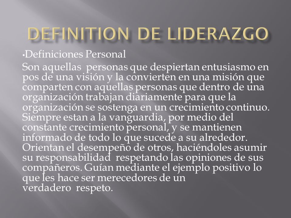 Definition de Liderazgo