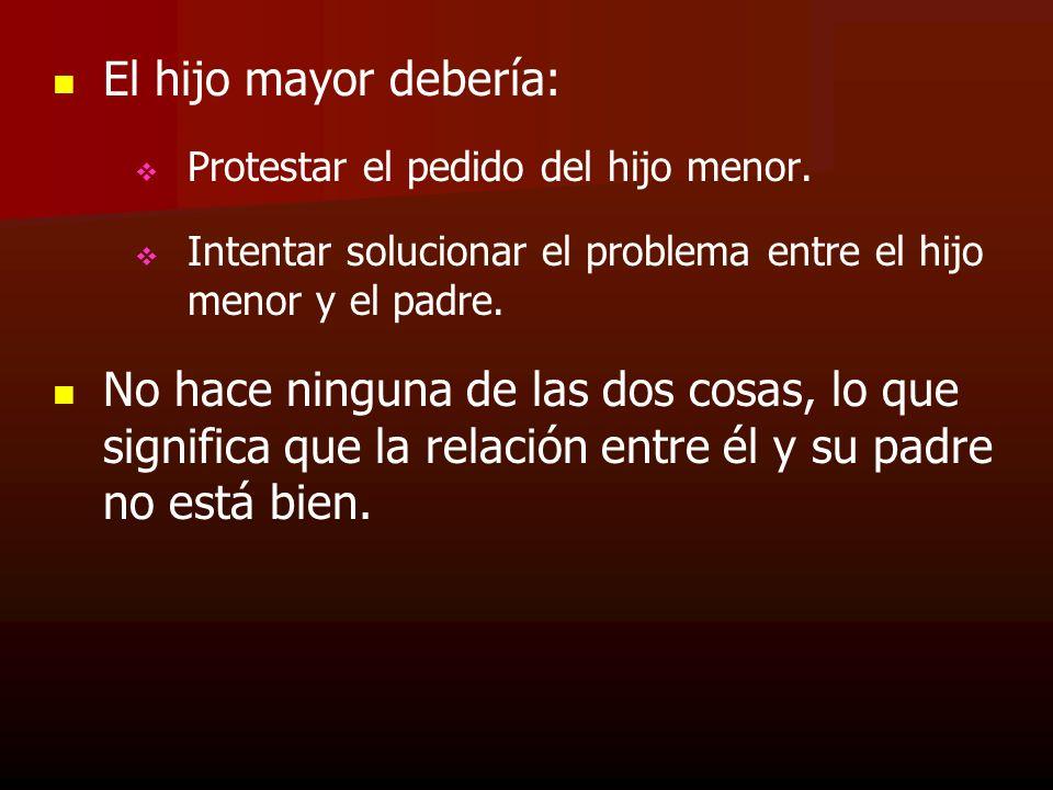 El hijo mayor debería: Protestar el pedido del hijo menor. Intentar solucionar el problema entre el hijo menor y el padre.